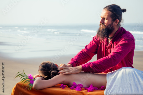 Ayurvedic relaxing massage ,health woman in spa salon getting