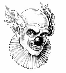 Mad looking clown face. Ink black and white drawing