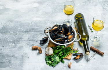 Fresh seafood clams with parsley and white wine.