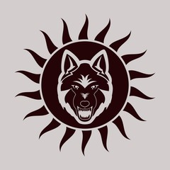 Color illustration of a wolf with a grin the sun on a light background