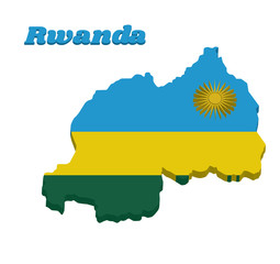 3d Map outline and flag of Rwanda, A horizontal tricolor of blue, yellow and green with a yellow sun in the upper corner.