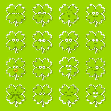 Green lucky irish clover sticker set of cute happy smiley emotions for st.Patricks day,vector illustration