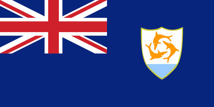 Flag Anguilla in official rate and colors, vector