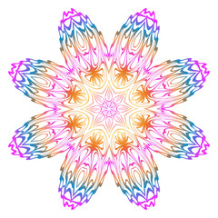 Simple Round Floral Mandala, Ethno Motive. Bright Ornament Consists Of Simple Shapes. Vector Illustration.. For Home Decor, Coloring Book, Card, Invitation, Tattoo. Anti-Stress Therapy Pattern.
