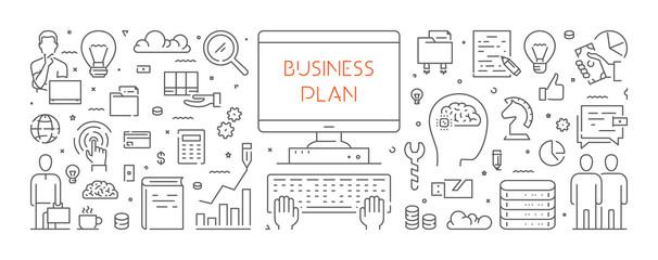 Vector line web banner for business plan