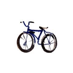watercolor retro bike, black bike isolated object
