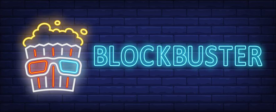 Blockbuster neon text with popcorn and 3d glasses