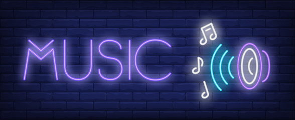 Music neon text with audio speaker and notes