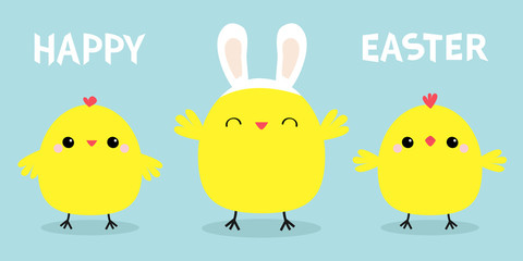 Happy Easter. Chicken bird set line. Face head wearing rabbit bunny ears band. Cute cartoon funny kawaii baby character. Friends forever. Flat design. Greeting card. Blue pastel color background.