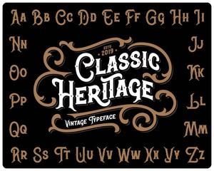 "Vintage font set named ""Classic Heritage"" with decorative ornate on black background"