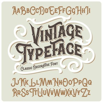 Vector vintage typeface with beautiful classic ornate