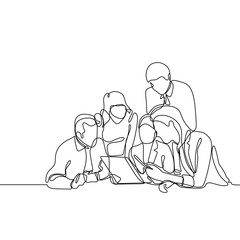 Group of office worker discussing a project. Concept of team work continuous one line drawing vector minimalist design.