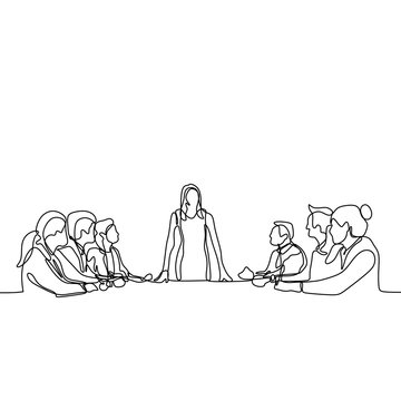 one continuous line drawing of group of young people as a worker talking and discussion at the meeting. A women as a leader gives a speech.