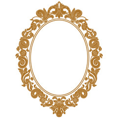 Golden vintage oval pattern frame in old style. Vector.