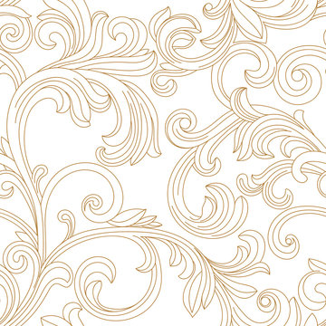 Golden vintage seamless pattern, ornament. Vector.
