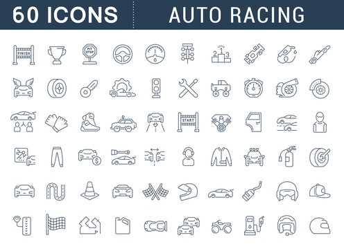 Set Vector Line Icons of Auto Racing.