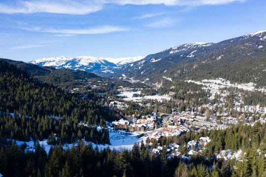 Whistler Creek Base Area Panoramic Landscape Winter Sunny Morning