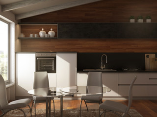 Modern white-grey kitchen with wooden floor and wall background