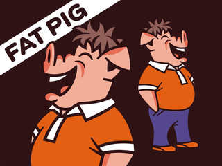 Vector illustration of a full-length pig. Funny character of a wild boar.