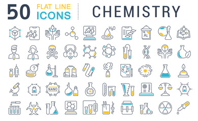Set Vector Line Icons of Chemistry.