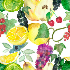 Rich watercolor pattern with fruits and berries on white background. Abundance of ripe fruit, seamless background for wrapping paper decoration, bags, posters and postcards decoration.