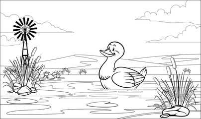 black and white coloring page duck in pond