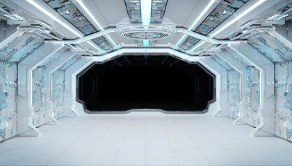 Fototapete - White blue spaceship futuristic interior mockup with window view 3d rendering