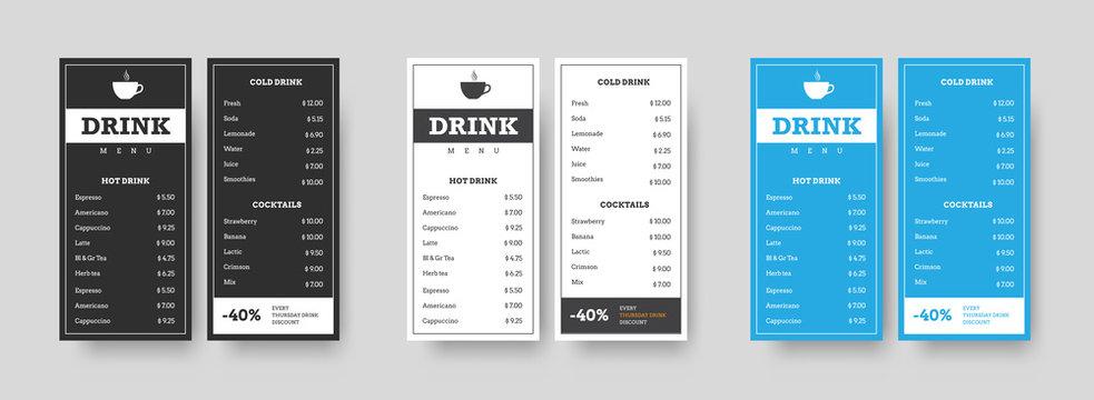 Vector set of vertical DL menu black, white and blue for drinks.