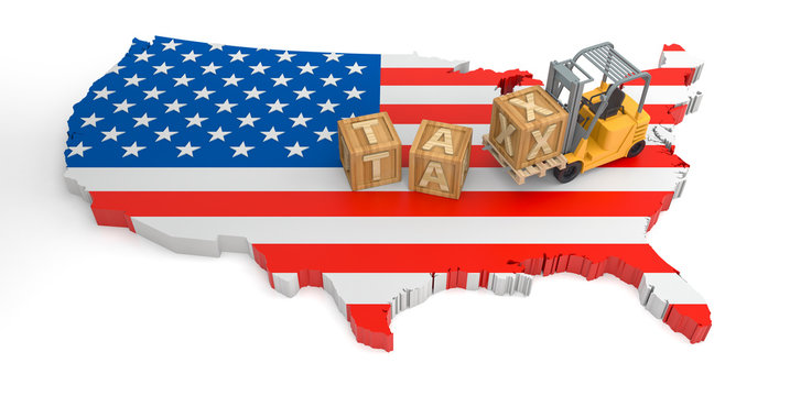 Tax Wooden Block Text of USA. 3D Rendering