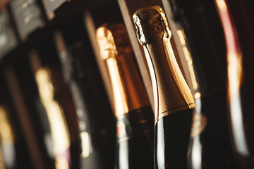 Bottles of champagne on the shelf, close-up image of alcoholic beverages in the wine cellar. Close-up image.
