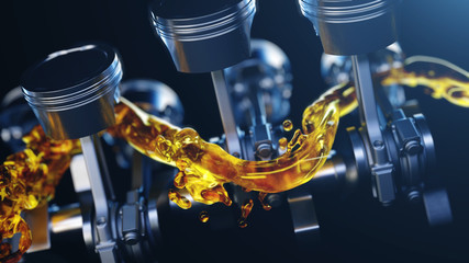 3d illustration of car engine with lubricant oil on repairing. Concept of lubricate motor oil Fotomurales