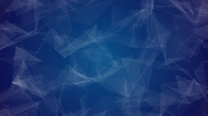 Abstract Beautiful Geometric Background With Moving Lines, Dots And Triangles