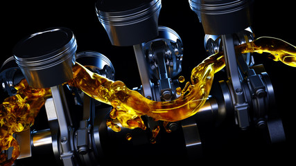 3d illustration of car engine with lubricant oil on repairing. Concept of lubricate motor oil Fototapete