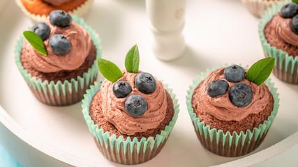 Fresh cupcake made of chocolate cream and berries