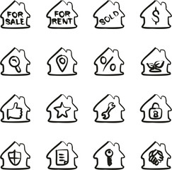 Real Estate Icons Freehand