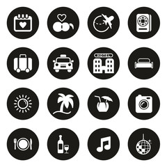 Honeymoon Trip Icons White On Black Circle