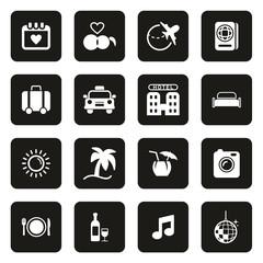 Honeymoon Trip Icons White On Black