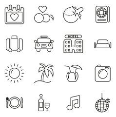 Honeymoon Trip Icons Thin Line Vector Illustration Set