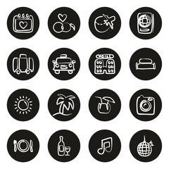 Honeymoon Trip Icons Freehand White On Black