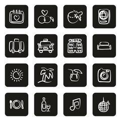 Honeymoon Trip Icons Freehand White On Black Circle