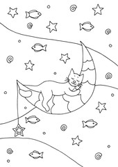 Hand drawn coloring page with a sleeping cat on the moon