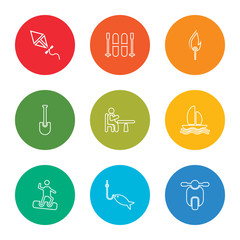outline stroke scooter, fishing, snowboard, boat, table, shovel, fire, skii, kite, vector line icons set on rounded colorful shapes