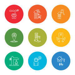 outline stroke home, user, construction, deal, house, placeholder, house key, house, solar panel, vector line icons set on rounded colorful shapes