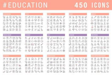 Set Vector Line Icons of Education.