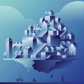 Ville géométrique - Devenir propriétaire dans un marché immobilier difficile - Bleu