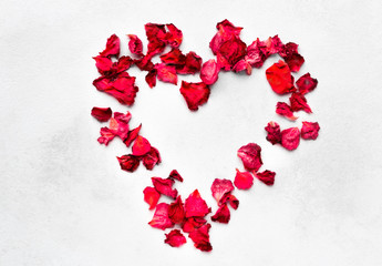 red and pink rose petals in the shape of a heart