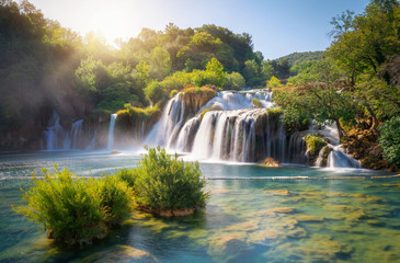 Poster de jardin Cascades Panoramic landscape of Krka Waterfalls on the Krka river in Krka national park in Croatia.