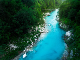 Turquoise Soca river flows in wild forest