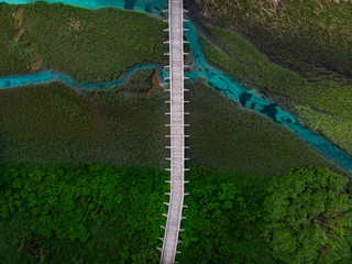Natural patterns in landscape, drone top down view