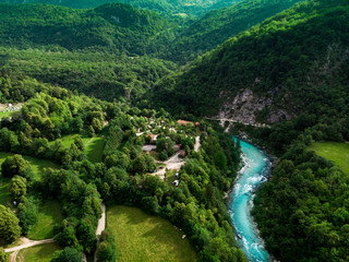 Soca river valley in green spring forest,aerial view